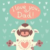 Card Happy Father's Day with a funny puppy. Stock Image