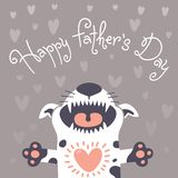 Card Happy Father's Day with a funny puppy. Royalty Free Stock Images