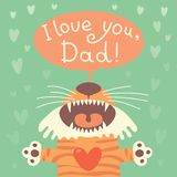 Card happy father's day with funny tiger cub. Stock Photos