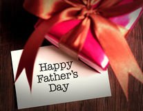 Card of happy fathers day and prensent box. Father's Day is observed on the third Sunday of June stock photos
