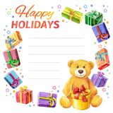 Card Happy holidays. frame of gifts and Teddy Bear. watercolor. Stock Image