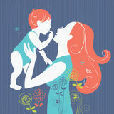 Beautiful mother silhouette with her baby with floral background Royalty Free Stock Images