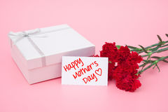 Card of happy mothers day and prensent box and red Stock Image