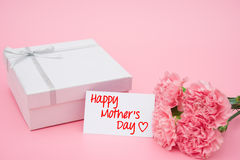 Card of happy mothers day and present box and pink Stock Images
