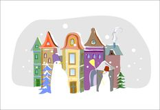 Card HAPPY NEW YEAR. He holiday, against the background of European cities vector illustration