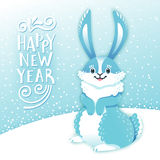 Card Happy New Year with cartoon rabbit. Funny bunny. Cute hare, snow and greeting text. Vector illustration Stock Images