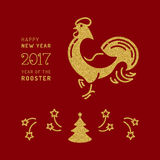 Card 2017 Happy New Year. Chinese Zodiac Rooster, Vector gold. Vector card 2017 Happy New Year. Chinese Zodiac Year of the Rooster 2017, Holiday golden symbols Stock Images