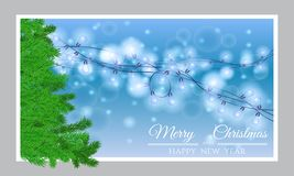 Card Happy new year and christmas with a Christmas tree Royalty Free Stock Image