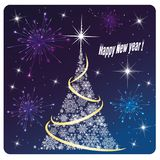 Card Happy New Year Firework and fireworks royalty free stock photos