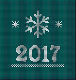 Card of Happy New Year 2017. With knitted texture Royalty Free Stock Photography