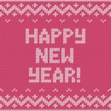 Card of Happy New Year 2015 with knitted texture. Royalty Free Stock Photos