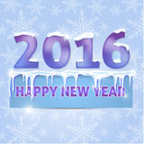 Card. Happy New Year 2016. Snowflakes, icicles, snow. Vector ill. Card. Happy New Year 2016.  Vector illustration Stock Image