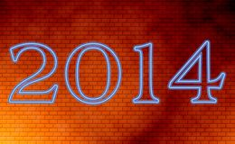 2014 card. Happy new year 2014 card on wall, blue neon letters Royalty Free Stock Photography