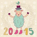2015 card with happy sheep and bird. Vector illustration Stock Image