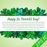 Card Happy St.Patrick day. Frame made from hand-drawn clover leaves. Vector illustration royalty free illustration
