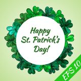 Card Happy St.Patrick day. Round frame made from hand-drawn clover leaves. Vector illustration royalty free illustration