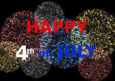 Card Happy 4th of July on colorful fireworks. Happy 4th of July lettering in red white and blue on colorful fireworks in a landscape format Royalty Free Stock Photos