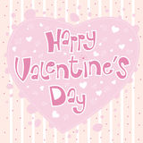 Card Happy Valentine's Day with big pink heart Royalty Free Stock Images