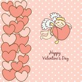 Card Happy Valentine's Day, cupid with bow Royalty Free Stock Photos