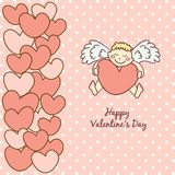 Card Happy Valentine's Day, cupid with heart Royalty Free Stock Photo