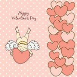 Card Happy Valentine's Day with a cute cupid Royalty Free Stock Photos