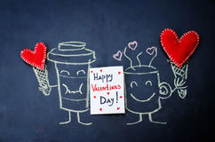 Card Happy Valentine's Day with painted cups of coffee Stock Images