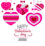 Card happy Valentine`s day. Pink hearts isolated on white background hanging on thread. Vector illustration Royalty Free Stock Photography