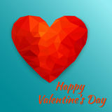 Card Happy Valentine`s Day with polygonal heart. Vector illustra. Polygonal heart. Card Happy Valentine`s Day. Low poly design on blue background with shadow Royalty Free Stock Images