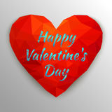 Card Happy Valentine`s Day with polygonal heart. Vector illustra Stock Photo