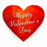 Card Happy Valentine`s Day with polygonal heart. Vector illustra. Red heart. Happy Valentine`s Day greeting card. Geometric rumpled triangular polygonal origami Stock Photography