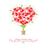 Card happy valentine tree of hearts Royalty Free Stock Photos