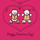 Card Happy Valentines Day. Vector illustration Stock Images
