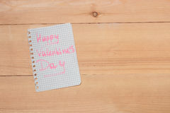 Card with Happy Valentines day on wooden background Stock Photos