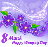 card Happy Women`s Day with a flower Royalty Free Stock Image