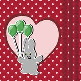 Card with hare and balloon Stock Images