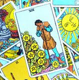 The Seven VII of Pentacles Tarot Card. This card is about Harvest Time, Rewards, Results, Profit, Payouts, Dividends, Shares, Bonus, Benefits and Large stock photos