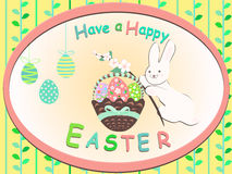 Card Have a Happy Easter Bunny with pink flowers Royalty Free Stock Photography