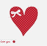 Card with heart. Red patchwork heart of polka dot fabric Royalty Free Illustration