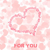 Card with heart. Valentine day card in pastel colours with hearts Royalty Free Stock Photo