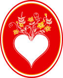 Card with heart. Heart with the bouquet of flowers. Heart on red background Stock Image