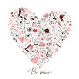 A card with a heart of element doodles and a love message. Vector Royalty Free Stock Photo
