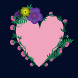 Card with a heart entwined with flowers. On a dark blue background Stock Images