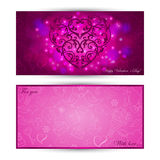 Card with heart on festive background. Greeting card with lace heart on festive background and sketch love symbols Royalty Free Stock Image
