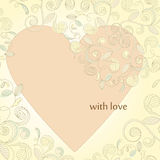 card with heart and floral ornament Stock Image