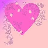 Card with heart and floral ornament Stock Photos
