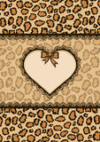 Card with heart frame and leopard fur texture Stock Photos