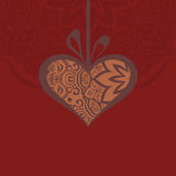 Card with a heart gift and creative design elements Royalty Free Stock Image