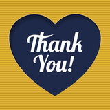 Card  with  heart icon and retro Thank You text. Royalty Free Stock Photography