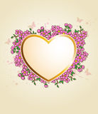 Card with heart and pink flowers Stock Image
