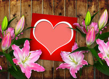 Card with heart and pink Lily flower Stock Photo